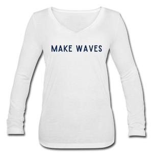 Make Waves Mermaid Flowy V-Neck T - white