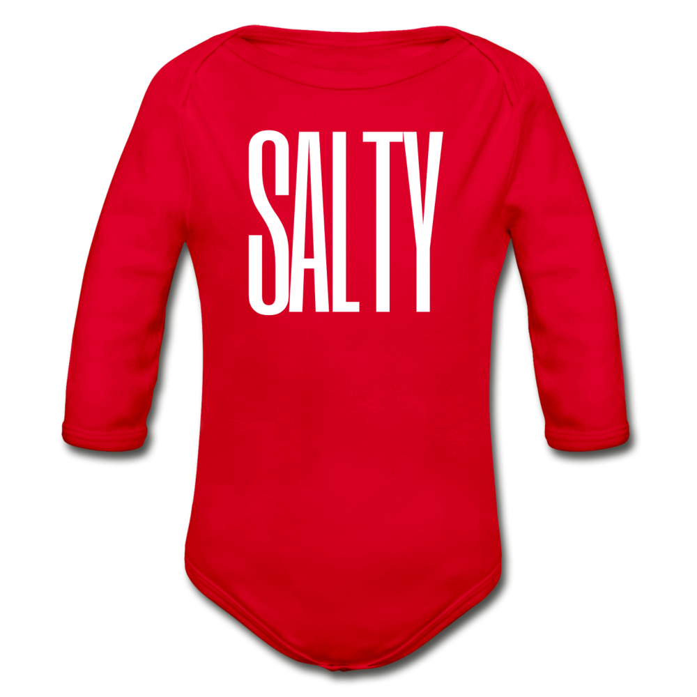 Salty-Organic 2-sided Long Sleeve Onesie - red