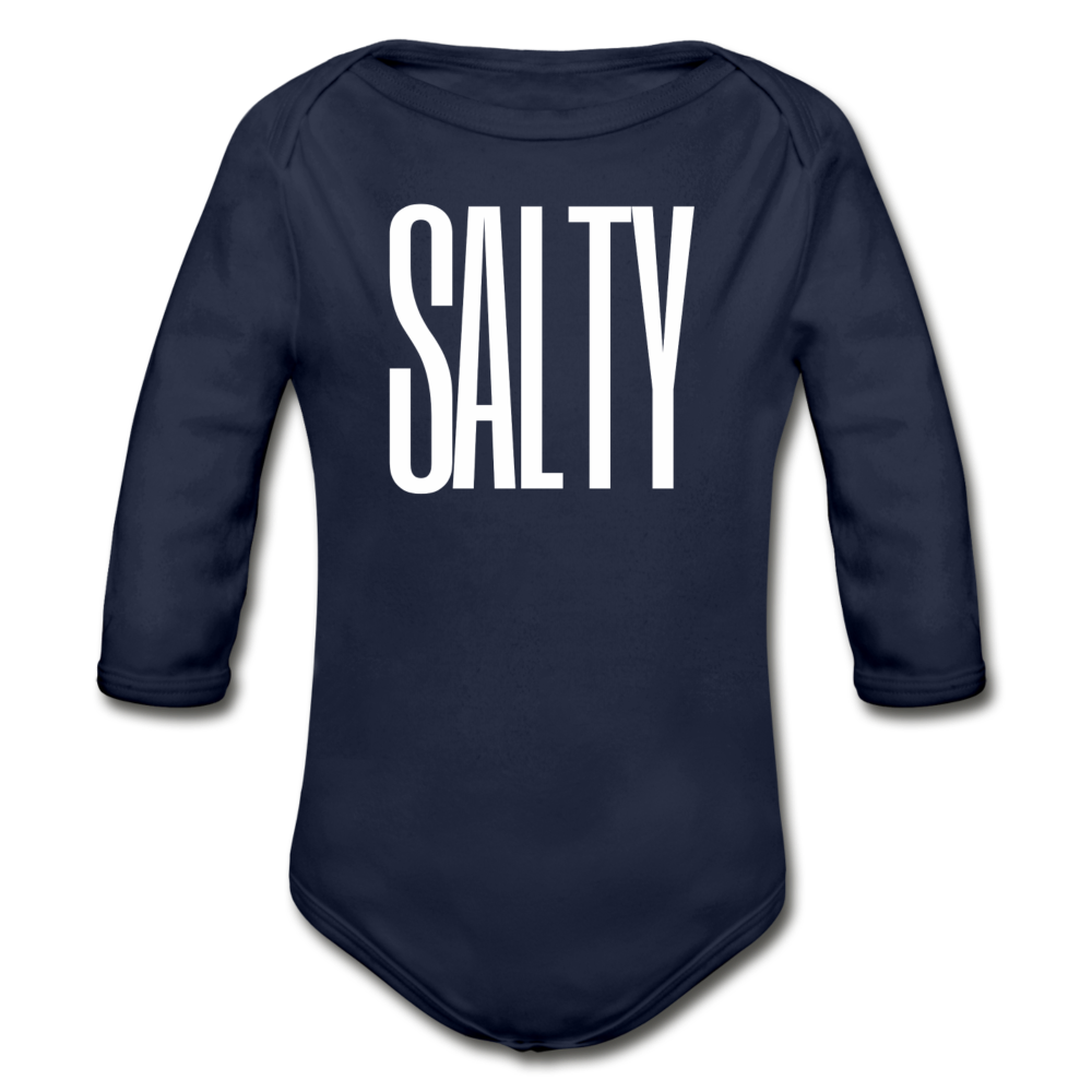 Salty-Organic 2-sided Long Sleeve Onesie - dark navy
