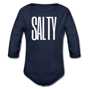 Open image in slideshow, Salty-Organic 2-sided Long Sleeve Onesie - dark navy