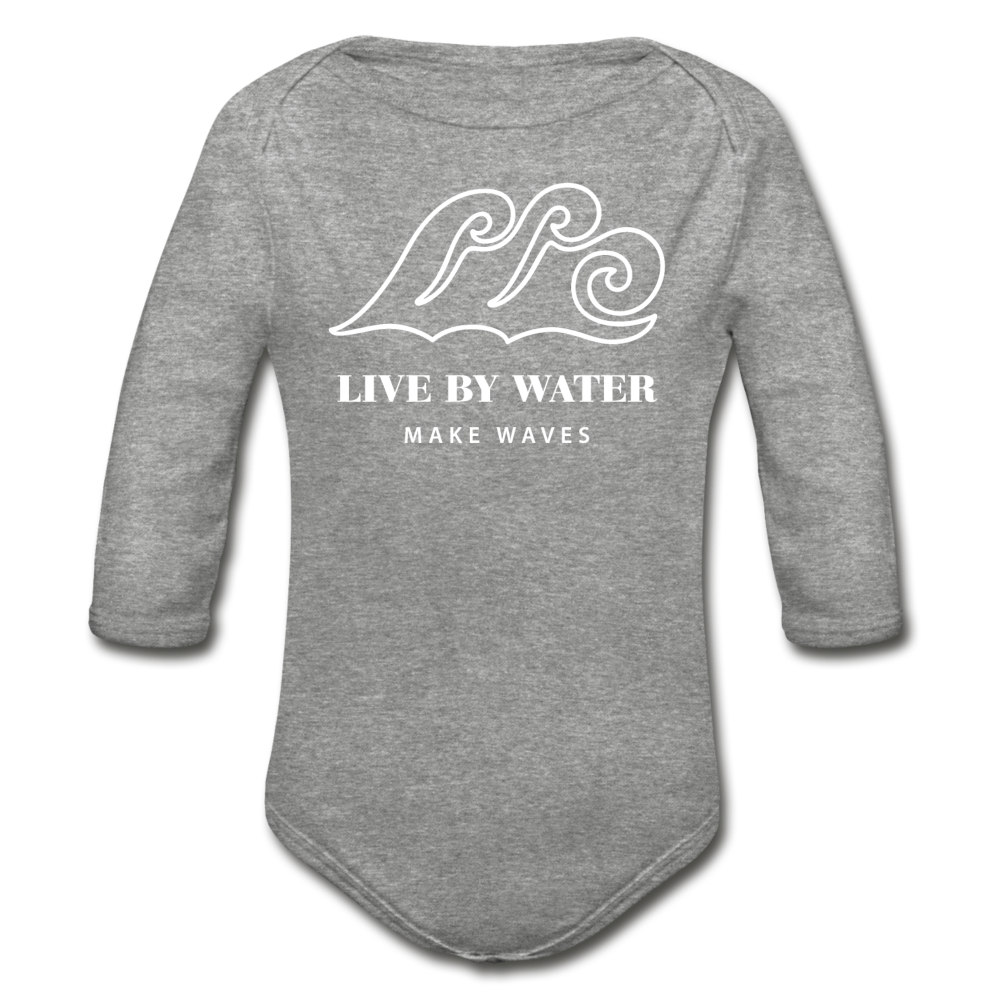 Classic Logo-Organic Long Sleeve Onsie - heather gray