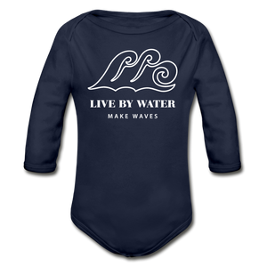 Open image in slideshow, Classic Logo-Organic Long Sleeve Onsie - dark navy