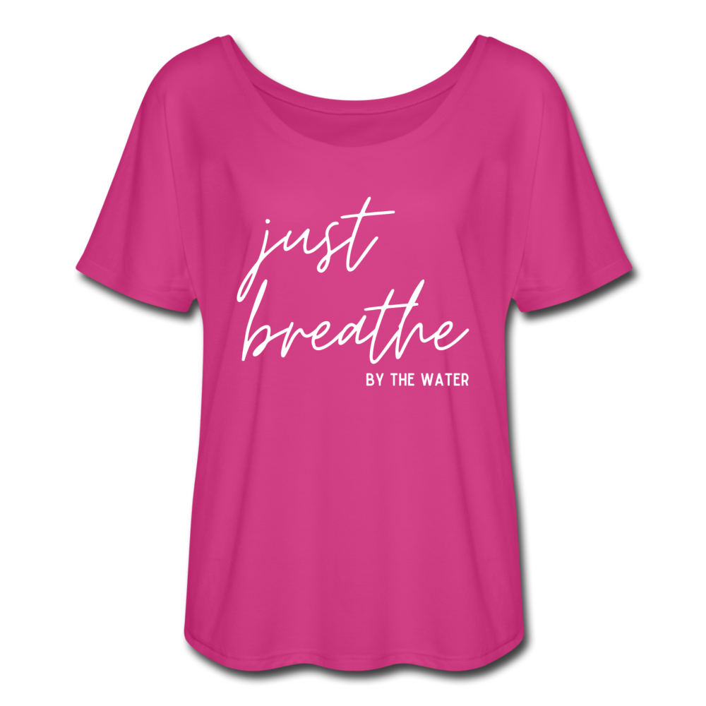 Just Breathe by the Water Women's Flowy T-Shirt - dark pink