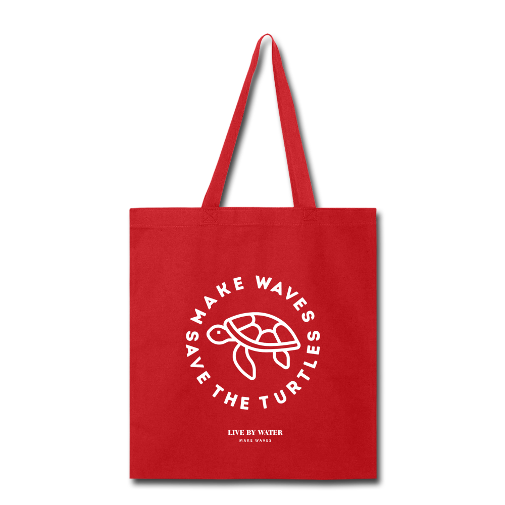 Make Wavs Save the Turtles Tote - red