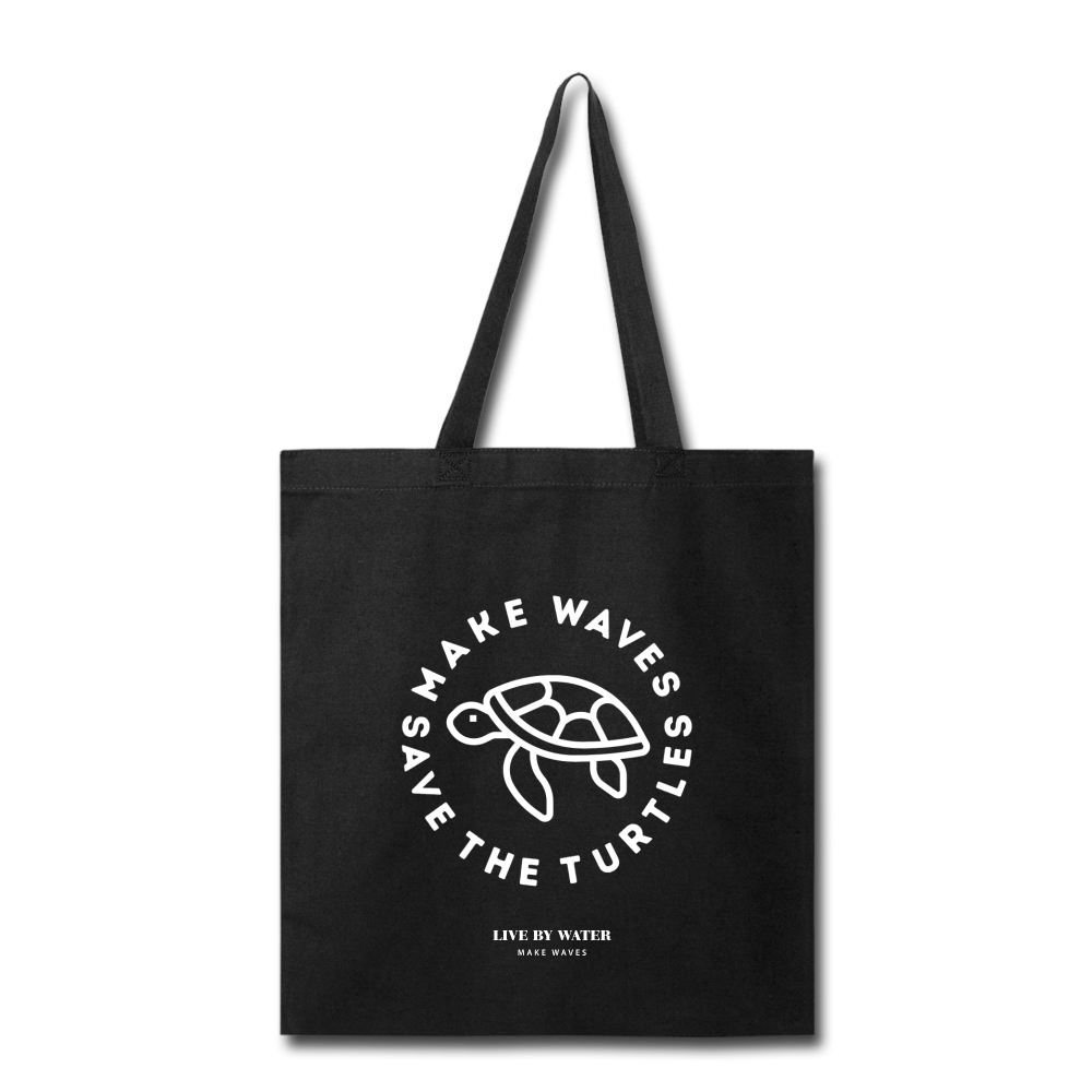 Make Wavs Save the Turtles Tote - black