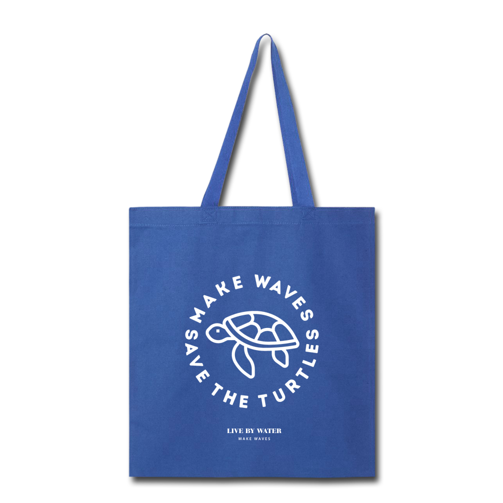 Make Wavs Save the Turtles Tote - royal blue