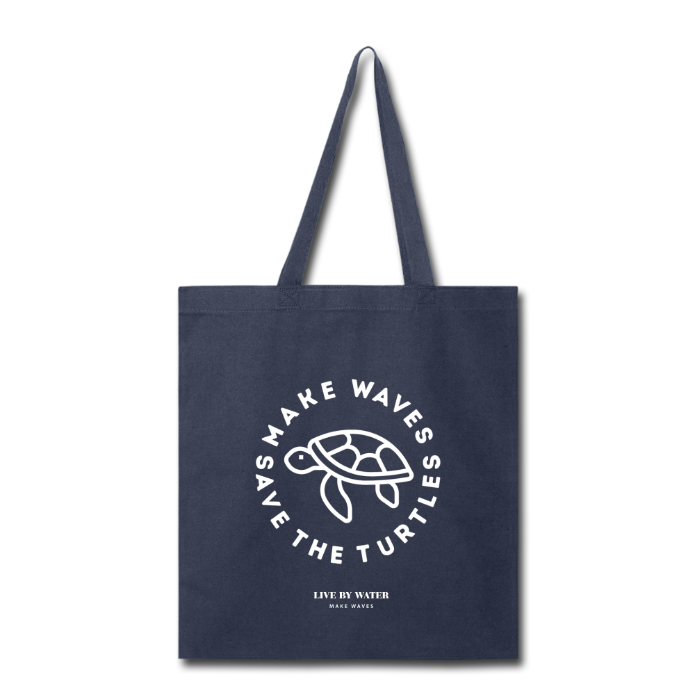 Make Wavs Save the Turtles Tote - navy