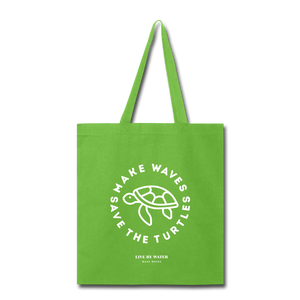 Open image in slideshow, Make Wavs Save the Turtles Tote - lime green