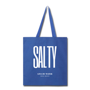 Open image in slideshow, Salty Live by Water-Tote Bag - royal blue
