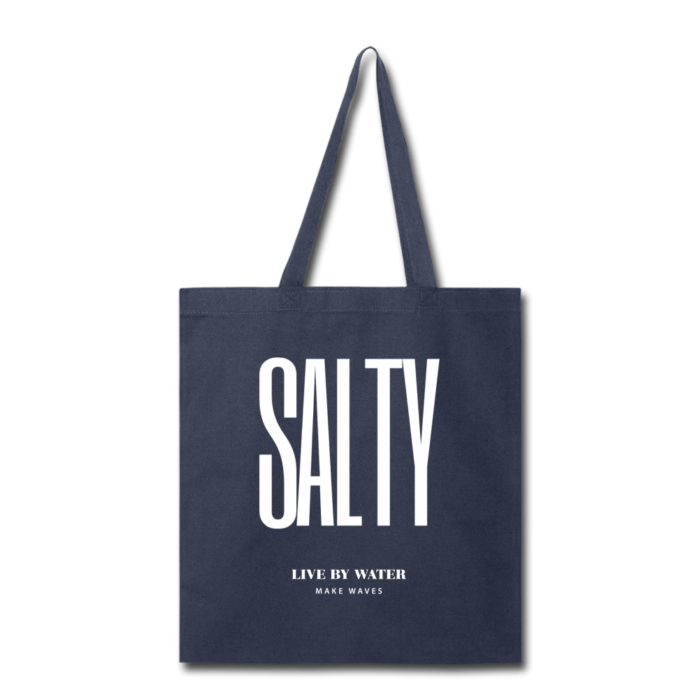 Salty Live by Water-Tote Bag - navy