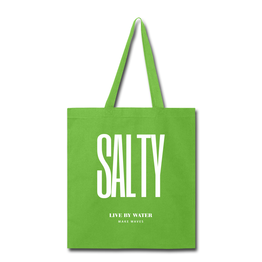 Salty Live by Water-Tote Bag - lime green