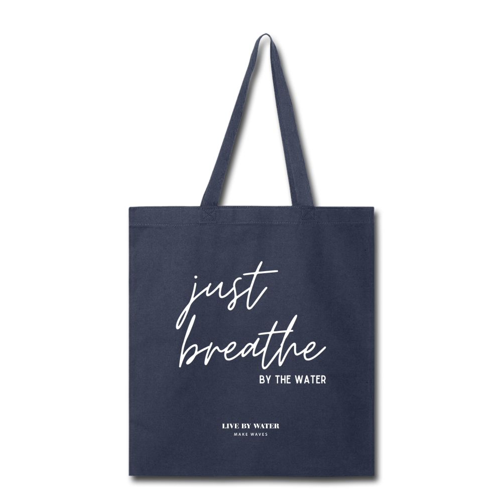 Just Breathe Tote Bag - navy