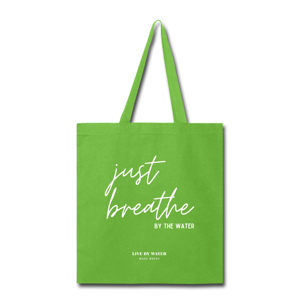 Just Breathe Tote Bag - lime green