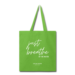 Open image in slideshow, Just Breathe Tote Bag - lime green