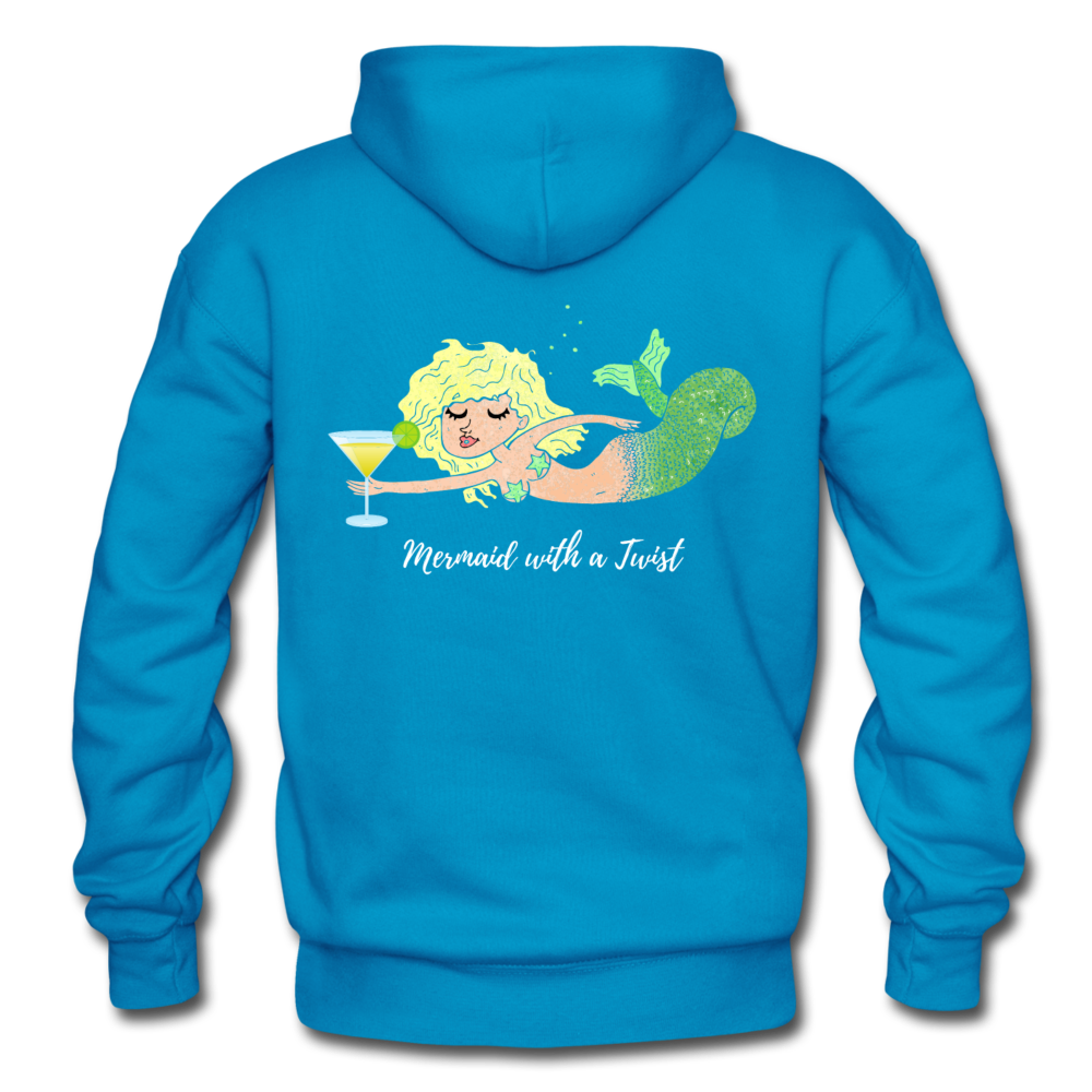Mermaid with a Twist-Unisex 2-sided Hoodie - turquoise