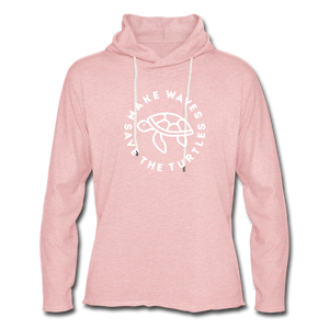 Open image in slideshow, Save the Turtles-Terry Hoodie - cream heather pink
