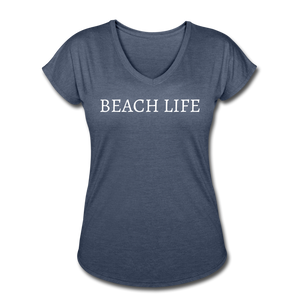 Open image in slideshow, Beach Life-Women's 2-sided V-neck T - navy heather