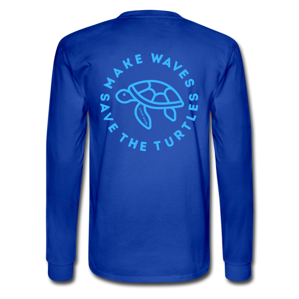 The Kelsey Save the Turtles-Unisex Long Sleeve T - royal blue