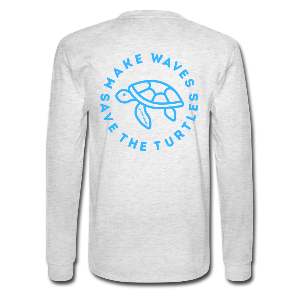 The Kelsey Save the Turtles-Unisex Long Sleeve T - light heather gray