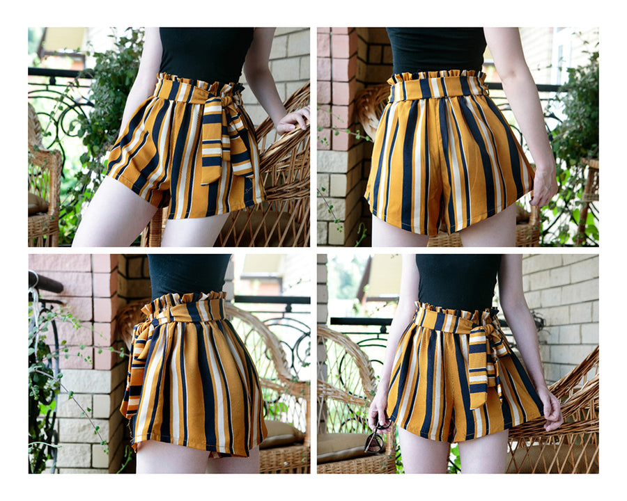 'Madelyn' Paperbag Waist Striped Shorts