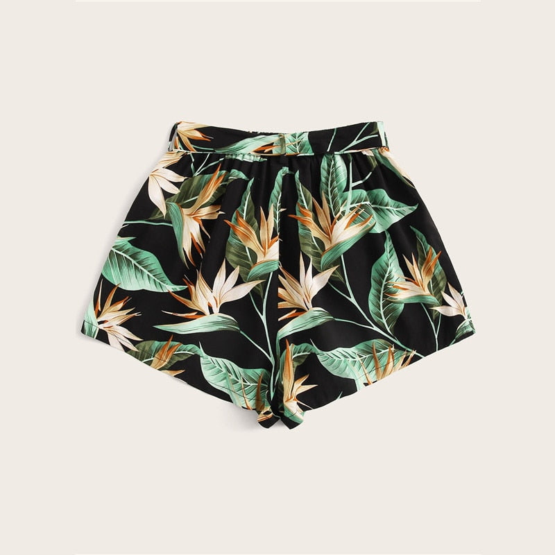 'Sarah' Multicolor Tropical Print Bohemian Shorts