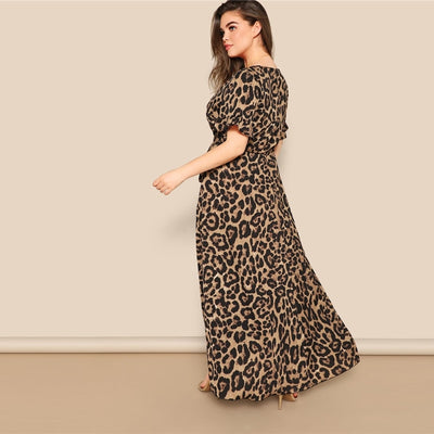 'Melissa' Plus Size Surplice Wrap Leopard Print Dress