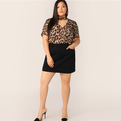 'Kate' Plus Size Choker Neck Leopard Print Top
