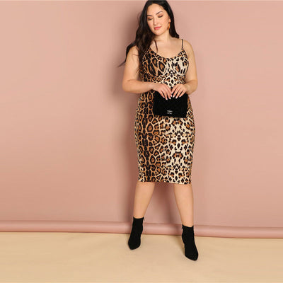 'Olive' Plus Size Leopard Print Bodycon Slip Dress