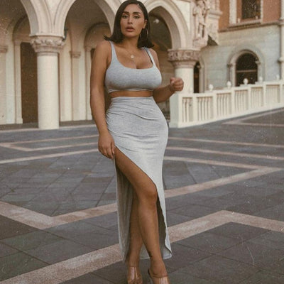 'Kylie' Two-Piece Side Split Matching Plus-Size Sets