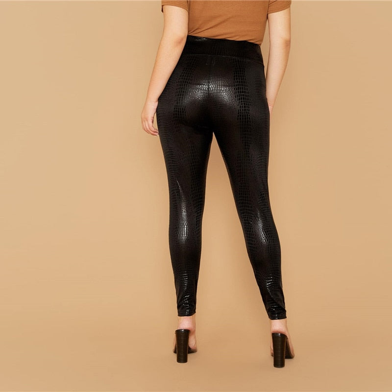 'Izabella' Plus Size Black Waistband Leggings