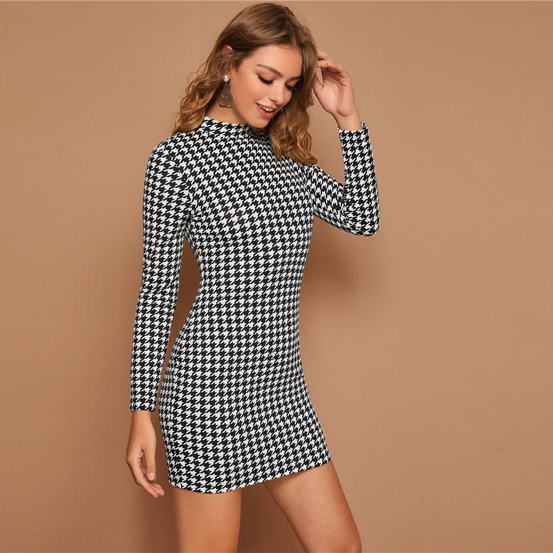 'Amelia' Black and White Houndstooth Print Bodycon Dress