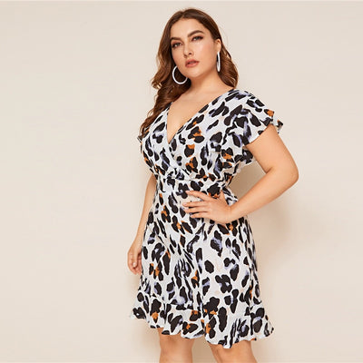 'Gabriela' Plus Size Leopard Print Dress