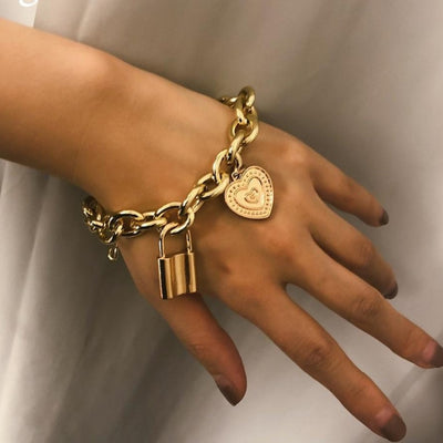 'Ellie' Lovers' Lock Pendant Bracelet