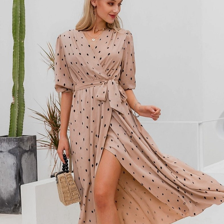 'Emilia' Polka Dot Wrap Dress