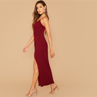 'Elizabeth' Wrap Ruched Side Split Dress