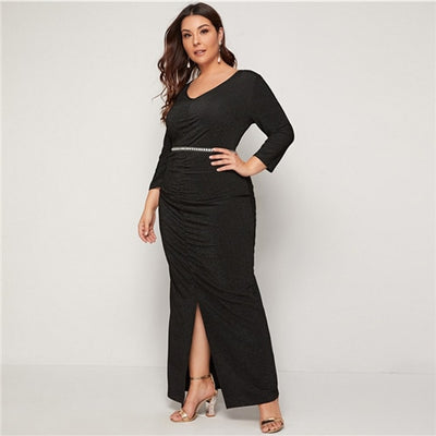 'Rosalie' Plus Size Ruched V-Neck Glitter Dress