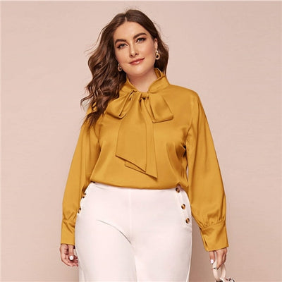 'Teagan' Plus Size Pink Bow Tie Neck Blouse