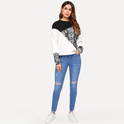 'Arya' Color Block Snake-skin Sweatshirt
