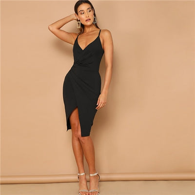 'Evelyn' Black Overlap Split Front Bodycon Dress