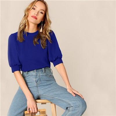 'Sophia Casual Puff Sleeve Top