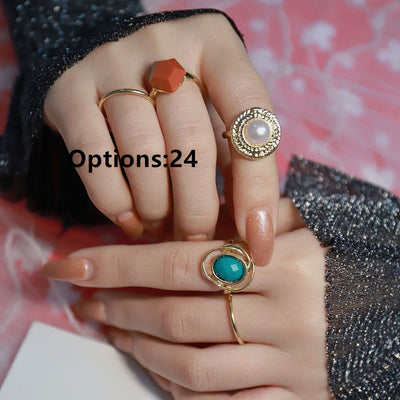 'Madeline' Summer Colorful Metallic Rings