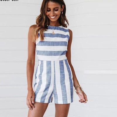 'Destiny' Hollow out Striped Rompers