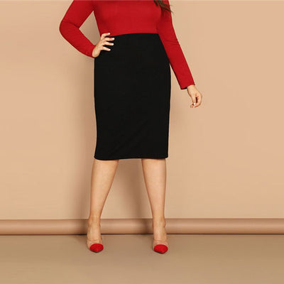 'Brynlee' Plus Size Elegant Pencil Skirt