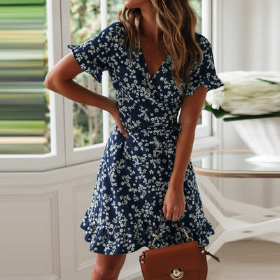 'Alina' V-neck Floral Boho Dress