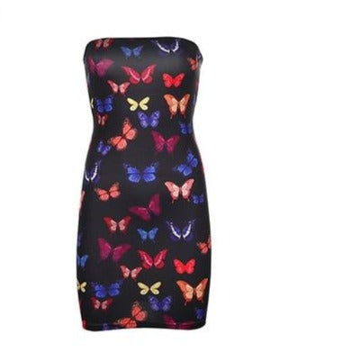 'Nicole' Butterfly Print Strapless Dress