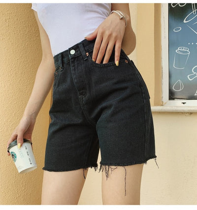 'Aliyah' High Waist Denim Shorts