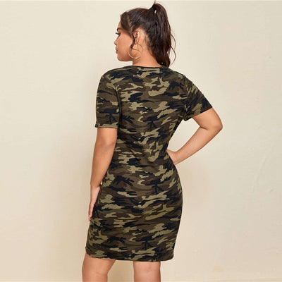 'Ayla' Plus Size Split Hem Camo Dress