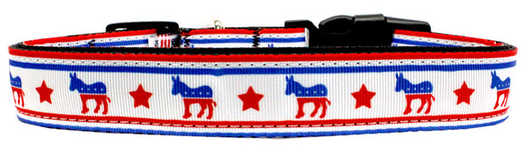 Political Nylon Democrat Dog Collar Small Wide