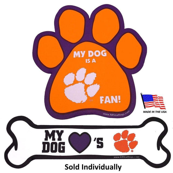 All Star Dogs Dog-products NCAA Bone Clemson Tigers Car Magnets