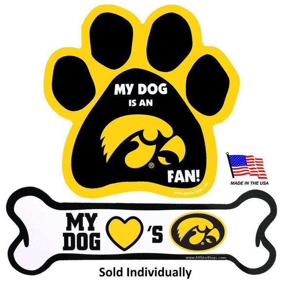 All Star Dogs Dog-products NCAA Bone Iowa Hawkeyes Car Magnets